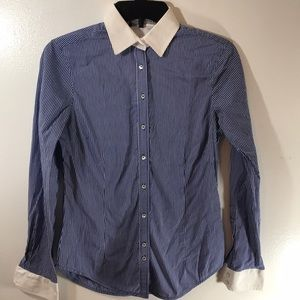 💼 Zara Sz 5 Basic Blue Striped Button Up Shirt XC